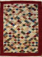 Rugstc 4x6 Senneh Gabbeh Multicolored Area Rug,Vegetable dye, Hand-Knotted,Wool