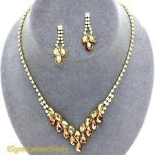 Champagne & Topaz Crystal Necklace Set Elegant Wedding Jewelry