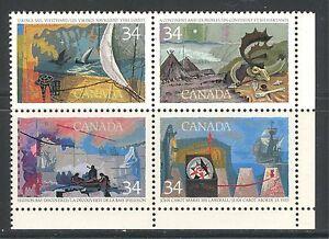 "CANADA 1986, EXPLORATION, ""PINK FLAW"" VARIETY, Scott 1107i, CORNER BLOCK, MNH"