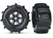 Traxxas 7773 Assembled & Glued Paddle Tires & Wheels Black (2) X-Maxx