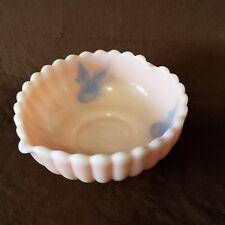 Vtg Fenton Pink Rosalene Heart Bowl Dish Butterflies MINT Rare