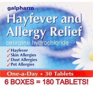 180 HAYFEVER & ALLERGY RELIEF TABLETS - CETIRIZINE HYDROCHLORIDE - SKIN - DUST