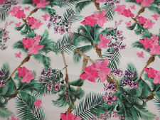Pink Hawaii Floral Superior Cotton Sateen Blend Printed Dress Fabric.