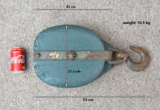 vintage wooden block old  ship snatch block wooden pulley hoist - FREE POSTAGE