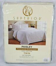 Superior Paisley 100% Cotton Jacquard Matelasse Bedspread Set - Twin - New