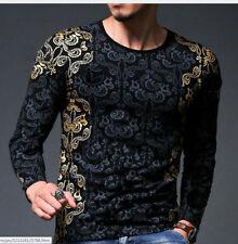 2017 Newest Fashion Mens fashion Print T Shirts cotton Long  sleeve TShirts  3XL