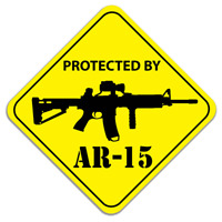 Protected By AR-15 Assault Rifle Gun Car Truck Window Decal Vinyl Sticker USA
