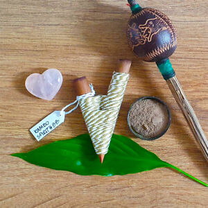 Kuripe Traditional Handmade Rapé Snuff Applicator Pipe White/Brown String Peru