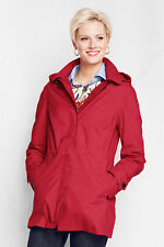 NWT Lands End Womens Tall Hooded Lined Rain Parka Coat #441110 M/T 10-12 Red $99