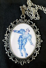 David Bowie Large Antique Silver Pendant Necklace Music Icon 80s Clown Ashes To