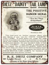 "1909 Dietz Dainty Tail Car Lamp Lantern Ad Mancave Metal Sign Repro 9x12"" 60326"