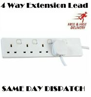 UK Switched Extension Lead Cable Electric Main Power 4 Gang Way Plug Socket 2M