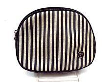 Oscar De La Renta Make Up Bag Cosmetic Case Purse Handbag, Small Black Stripe