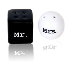 Round Cube Ceramic Mr.and Mrs.Salt Pepper Shakers Canister Set Wedding Gift FP