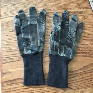 Mesh Grip Camo Hunting Gloves - Long Cuff - Large