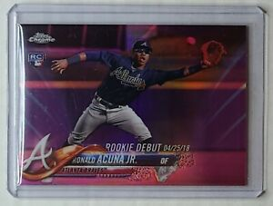 2018 Topps Chrome Update RONALD ACUNA JR Rookie Debut Pink Refractor