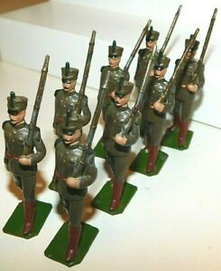 Pre-War BRITAINS 1930s Lead, Uruguayan Army Infantry Marching, 8 Piece Set #222