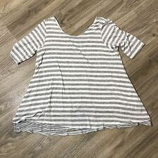 Puella Anthropologie Womens Small Gray White Striped 3/4 Sleeve V-Back Blouse