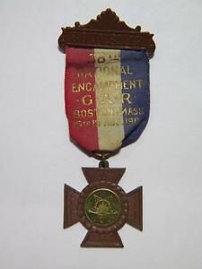 38TH NATIONAL ENCAMPMENT GAR 1904 BOSTON MASS LORDS PRAYER MEDAL W/ RIBBON 🌈⭐🌈