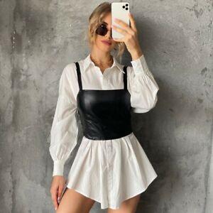 Womens Ladies leather look PU bralet crop top with lining side zip