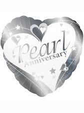 """30th perle mariage anniversaire fête décoration 18"""" en forme de coeur foil balloon"""
