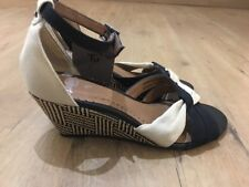 Tu Ladies Shoes,Size 3,Black Cream Peep Toe Wedge Sandals, New With Tags