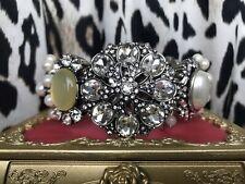 Betsey Johnson Something New HUGE Antique Style Pearl White Jeweled Bracelet