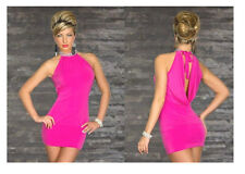 SEXY IN HOT PINK FUCHSIA CLUB DANCE MINI DRESS RHINESTONE SPARKLE COLLAR S/M VW