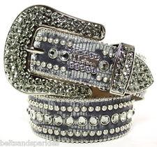 BB Simon Swarovski Crystal Gray Leather Belt 34 XL New