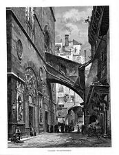 Stampa antica FIRENZE Chiesa di San Michele 1876 Old print Florence Engraving
