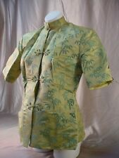 Vintage Chinese SILK BLOUSE Bamboo Pattern PLUS SIZE TOP Knot Buttons QUILTED