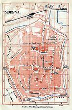 Pianta di Modena. Carta Topografica,Geografica.Stampa Antica + Passepartout.1891