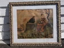 1800s ANTIQUE ROMANTIC RENAISSANCE LITHOGRAPH FANCY GESSO on WOOD PORTRAIT FRAME
