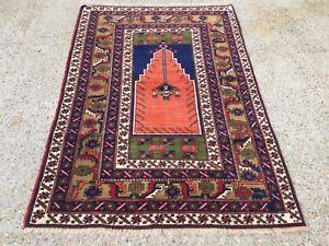 £950 Turkish Vintage Prayer Rug vegetable dye175x115cm Persian Afghan Tribal