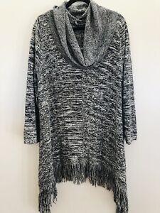 Taking Shape Sz M Knitwear Grey Marle Cowl Neck Fringed Long L/s Cotton Tunic
