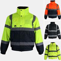 Hi Vis Bomber Jacket High Visibility Waterproof Security Zip Padded Work Coat