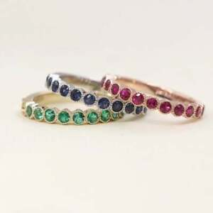 3 Matching Natural Ruby, Sapphire & Emerald Ring Set 14K Solid Gold for Women's