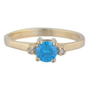 14Kt Gold 0.50 Ct Swiss Blue Topaz & Diamond Round Ring