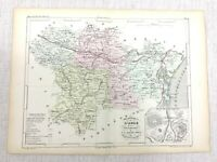 1853 Antique Map of Carcassonne Languedoc France French Hand Coloured Engraving