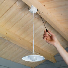 Solar Power White Outdoor Aluminium LED Shed Light | Garage Downlight Pull Cord