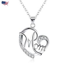 925 Silver Plated Crystal Mom Heart Pendant Necklace Mama For Mother's Day