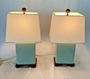 Pair of RALPH LAUREN Lamps Crackle Celadon Porcelain wood pedestals with Shades
