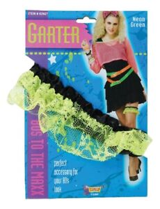 Neon Pink Green 1980's Fun Party Lace Garter Band Slip Fancy Costume Accessory