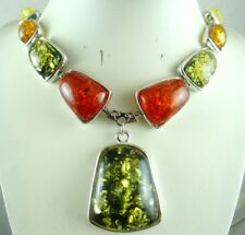 Precious Modernist Multicolor Gem amber Handmade Gemstone Jewellery Necklace P37