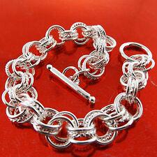 Bracelet Bangle Real 925 Sterling Silver S/F Solid Ladies Antique Tbar Design