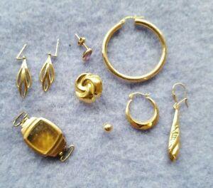 9CT GOLD JEWELLERY LOT SCRAP / EARRINGS / Watch Case Etc 7.3g