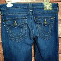 True Religion Womens Denim Jeans Medium Wash Flap Pockets  Size 27 33x34 112790