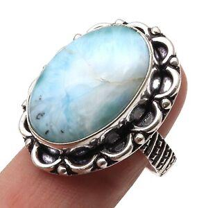 US SIZE 6.5 women jewellery gift #B117 925 sterling silver statement ring Larimar gemstone silver ring Larimar ring