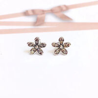 Genuine 925 Sterling Silver Women 9mm Crystal Flower Stud Earrings Vintage Look