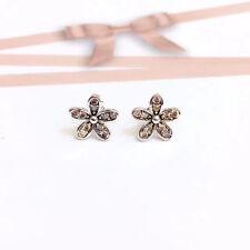 Genuine 925 Sterling Silver Women 9mm Crystal Flower Stud Earrings Vintage Look